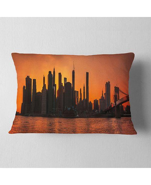 "Design Art Designart Silhouettes Of Manhattan Panorama Throw Pillow - 12"" X 20"""