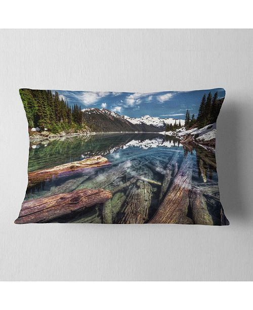 "Design Art Designart Sunken Logs N Mountain Lake Landscape Printed Throw Pillow - 12"" X 20"""