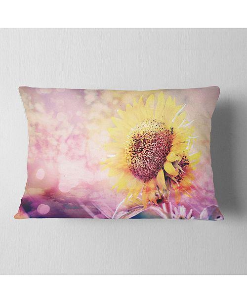 """Design Art Designart Sunflower With Rainbow Light Effect Floral Throw Pillow - 12"""" X 20"""""""