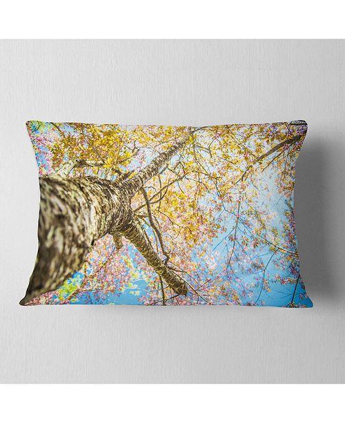 "Design Art Designart Under Branch Of Yellow Cherry Tree Trees Throw Pillow - 12"" X 20"""