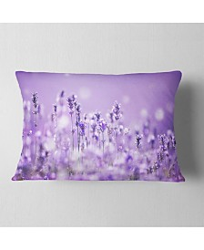 "Designart Stunning Purple Lavender Field Landscape Printed Throw Pillow - 12"" X 20"""