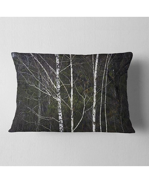 "Design Art Designart Black And White Birch Forest Abstract Throw Pillow - 12"" X 20"""
