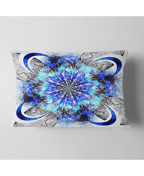 """Design Art Designart Symmetrical Blue Fractal Flower Abstract Throw Pillow - 12"""" X 20"""""""