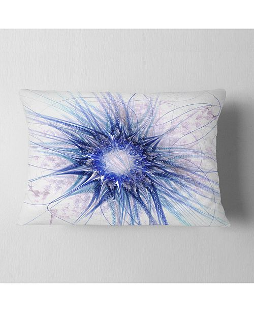 "Design Art Designart Blue Light Fractal Flower Texture Abstract Throw Pillow - 12"" X 20"""