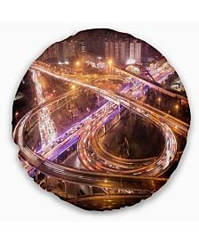 "Designart Beautiful Shanghai Traffic Throw Pillow - 16"" Round"