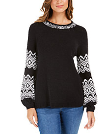 Style & Co Fair-Isle Boat-Neck Sweater, Created For Macy's