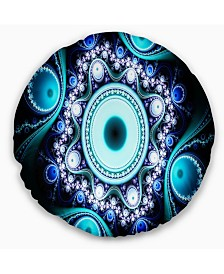 """Designart Turquoise Fractal Pattern With Circles Abstract Throw Pillow - 16"""" Round"""
