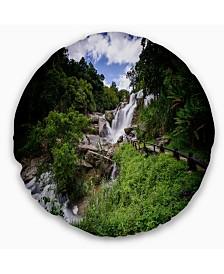 "Designart Mae Klang Waterfall Thailand Landscape Printed Throw Pillow - 20"" Round"