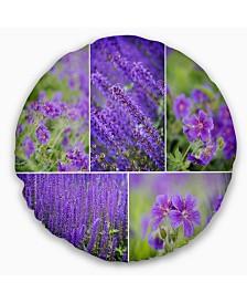 "Designart Blue Spring Flowers Collage Floral Throw Pillow - 20"" Round"