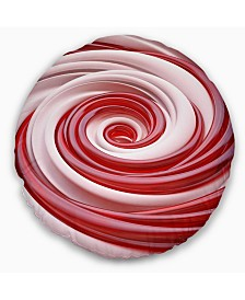 """Designart Beautiful Candy Cane Spiral Abstract Throw Pillow - 20"""" Round"""
