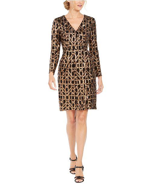 Calvin Klein Geo-Sequined Sheath Dress