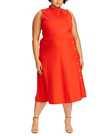 Lauren Ralph Lauren Plus Size Button-Trim Ponte Dress