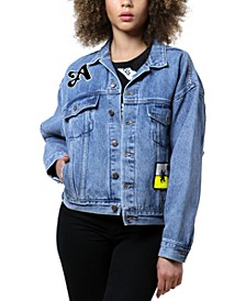 Patched Art Print Denim Jacket