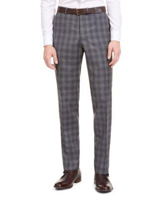 Men's Slim-Fit Dark Gray Plaid Wool Suit Separate Pants