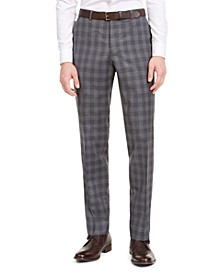 Men's Slim-Fit Dark Gray Plaid Wool Suit Pants