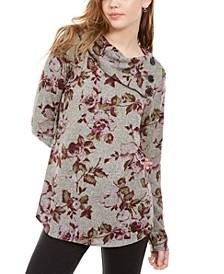 Juniors' Printed Split-Cowl Sweater