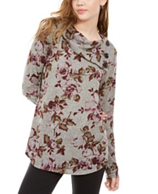 BCX Juniors' Printed Split-Cowl Sweater