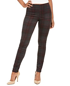 Juniors' Plaid Pull-On Ponte Pants