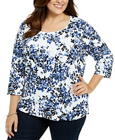 Plus Size Floral Scoop Neck Top, Created For Macy's