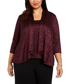 Alex Evenings Plus Size Animal-Print Twinset