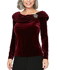 Petite Ruched Velvet Top