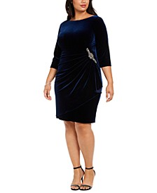 Plus Size Ruched Velvet Dress