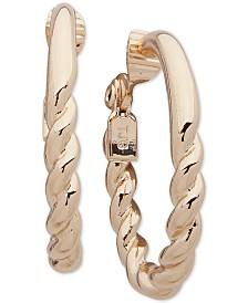 """Anne Klein Medium Rope-Detail Clip-On Oval Hoop Earrings 1-1/4"""""""