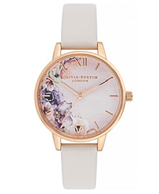 Women's Watercolour Floral Blush Leather Strap Watch 30mm