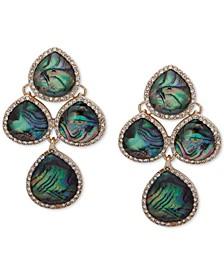 Gold-Tone Stone & Crystal Chandelier Clip-on Drop Earrings