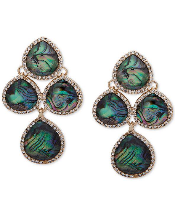 Anne Klein Gold-Tone Stone & Crystal Chandelier Clip-on Drop Earrings