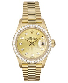 Ladies 18K Presidential Watch with Champagne Diamond Dial & Diamond Bezel