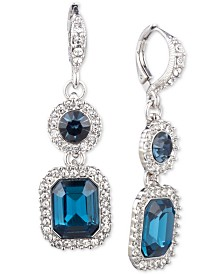 Givenchy Silver-Tone Pavé & Stone Double Drop Earrings