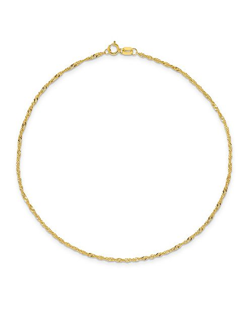 Macy's Singapore Chain Anklet in 14k Yellow Gold
