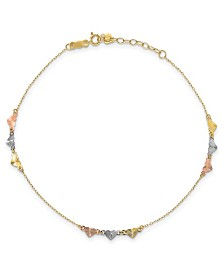 "Heart Anklet With Adjustable 1"" Extender in 14k Tri-Gold"