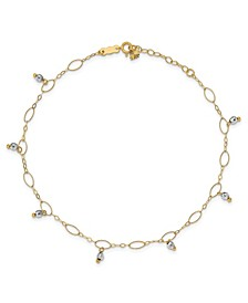Reflective Beaded (4 mm) Anklet in 14k Yellow and White Gold