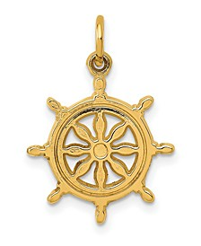 Ship Wheel Charm in 14k Yellow Gold