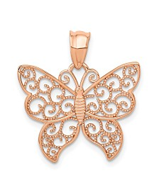 Filigree Butterfly Pendant in 14k Rose Gold
