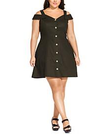 Trendy Plus Size Safari Cold-Shoulder Dress
