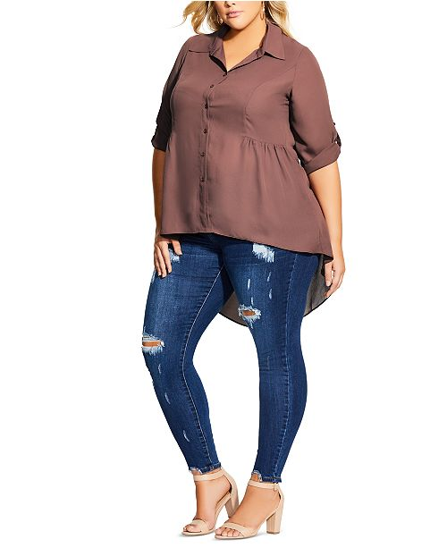 City Chic Trendy Plus Size High-Low Collared Shirt