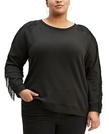 Trendy Plus Size  Reese Fringe-Trim Top