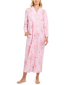 Floral-Print Quilted Snap-Front Robe