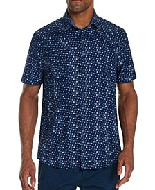 Men's Slim-Fit Performance Stretch Mini Paisley Short Sleeve Shirt