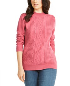 Karen Scott Cable-Knit Mock-Neck Sweater, Created for Macy's