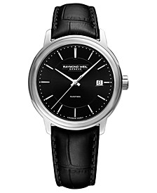 Men's Swiss Automatic Maestro Black Leather Strap Watch 40mm