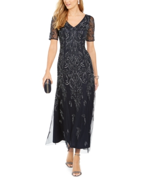 1920s Party Dresses, Great Gatsby Gowns, Prom Dresses Adrianna Papell Petite Embellished Dress $199.99 AT vintagedancer.com