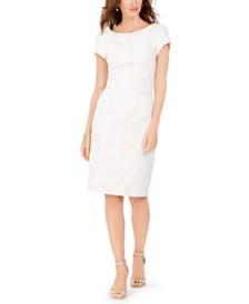 Adrianna Papell Metallic Leaf Sheath Dress