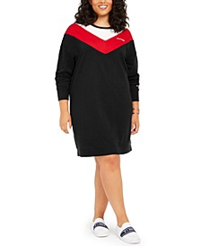 Plus Size Colorblocked Sweatshirt Dress