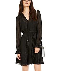 Embellished Sheer-Sleeve Dress