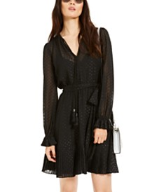 Michael Michael Kors Embellished Sheer-Sleeve Dress