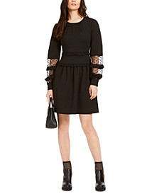 Lace-Trimmed Scuba Dress, Regular & Petite Sizes